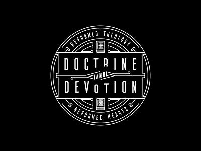 Doctrine and Devotion (2020 Logo) line art peter voth design logo vector badge illustration