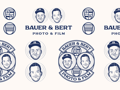 Bauer & Bert badge design line art illustrator etching icon peter voth design engraving logo vector badge illustration