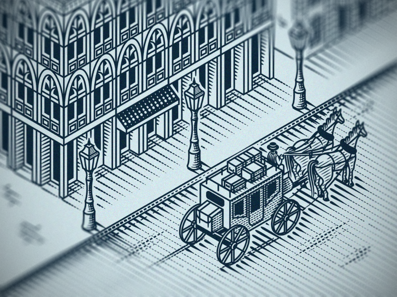 Night Carriage (Isometric engraving)