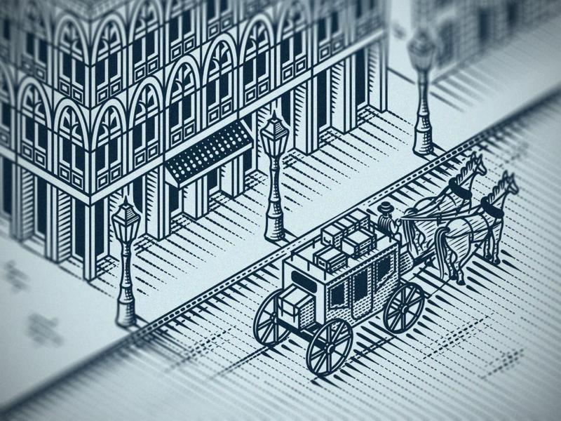 Night Carriage (Isometric engraving) scratchboard etching illustrator line art engraving peter voth design vector illustration