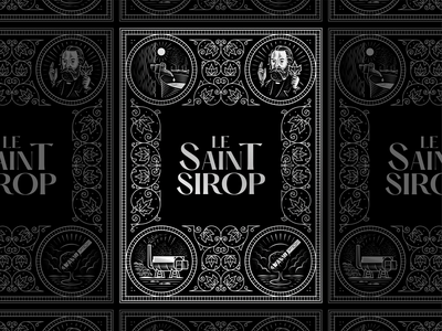 Le Saint Sirop packaging woodcut line art graphic design etching illustrator peter voth design engraving illustration