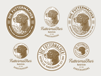 Die Futtermacher woodcut etching graphic design line art illustrator peter voth design engraving logo badge vector illustration