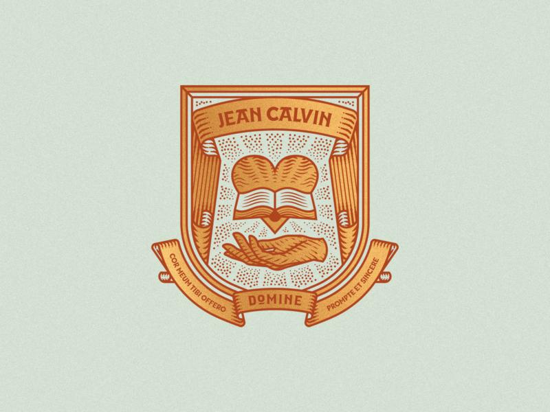 Jean Calvin graphic design line art illustrator etching engraving logo badge vector illustration peter voth design
