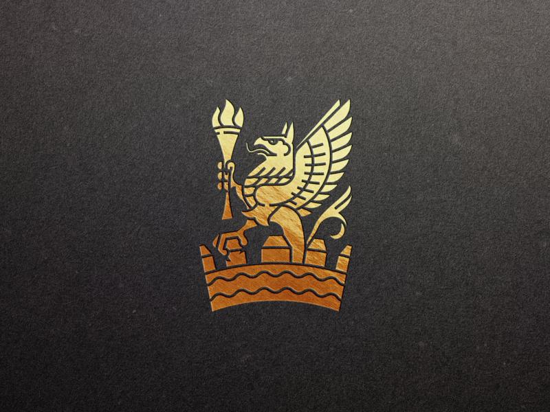 Hotel Vancouver Griffin heraldic griffin icon branding line art illustrator etching engraving logo vector peter voth design illustration