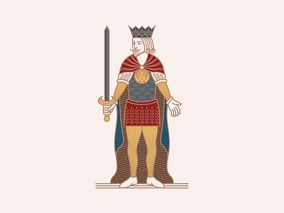 Napoletane King of Spades line art illustrator peter voth design vector illustration