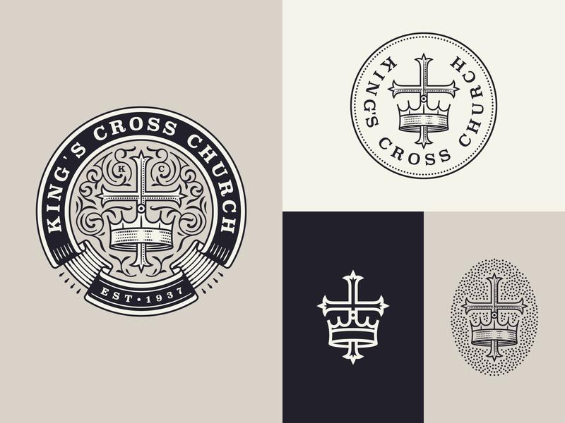 King's Cross Church responsive design responsive branding branding graphic design line art illustrator etching icon engraving logo badge illustration peter voth design