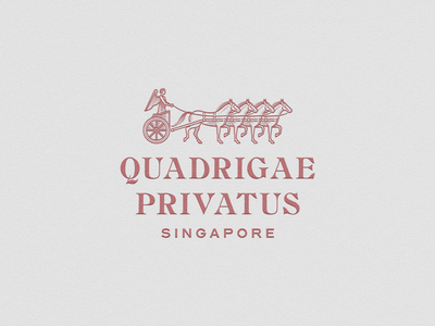 Quadrigae Privatus logo design quadriga graphicdesign line art illustrator etching icon engraving logo badge vector illustration peter voth design
