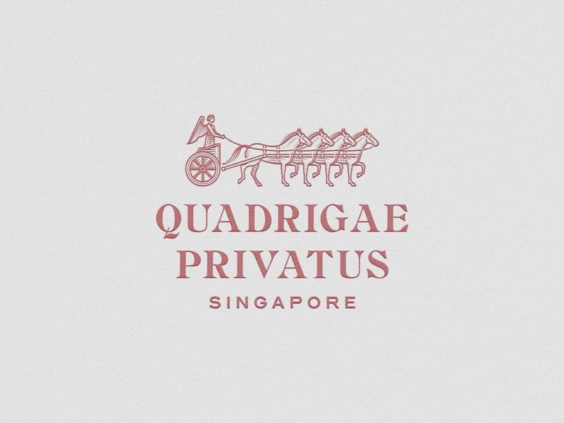 Quadrigae Privatus logo design quadriga graphicdesign line art illustrator etching icon engraving logo badge vector illustration peter voth design
