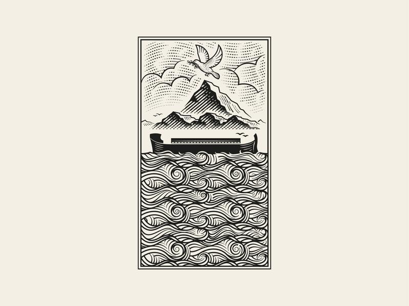 2 • The Flood and God's Covenant with Noah design graphic design illustrator woodcut line art etching engraving bible design bible unfolding grace illustration peter voth design