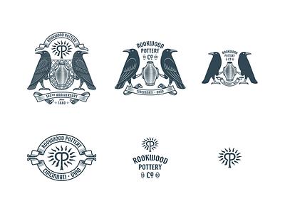 Rookwood Pottery Co. branding icon logo badge graphic design line art illustrator etching engraving illustration peter voth design