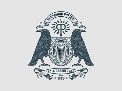 Rookwood Pottery Co. pt. II graphic design coat of arms line art illustrator etching engraving logo badge peter voth design
