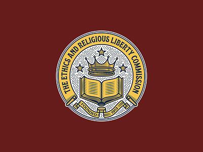 ERLC Seal icon vintage graphic design etching illustrator line art logo engraving illustration coat of arms seal badge peter voth design