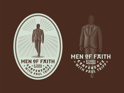 Paul Tripp Conference • Men of Faith graphic design line art illustrator etching engraving logo badge vector illustration peter voth design