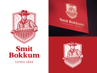 Smit Bokkum line art icon illustrator etching logo engraving badge vector illustration peter voth design