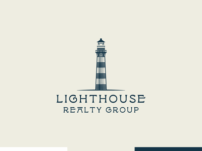 Lighthouse Realty Group line art illustrator icon etching engraving logo badge vector illustration peter voth design