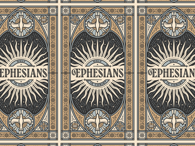 Ephesians beauty church stained glass sermon bible graphic design line art illustrator etching engraving logo vector illustration peter voth design