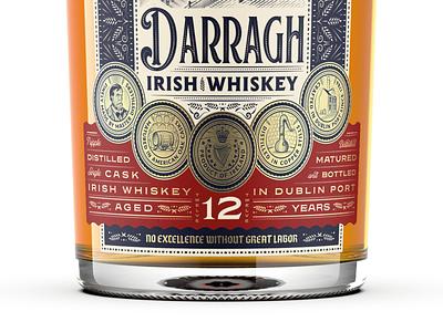 Darragh Distilling Co. 3/3 packaging design spirits packaging line art branding graphic design illustrator etching engraving logo vector illustration peter voth design