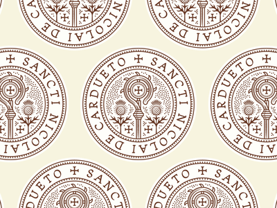 St-Nicolas-du-Chardonnet responsive branding woodcut branding design etching engraving logo badge vector illustration peter voth design