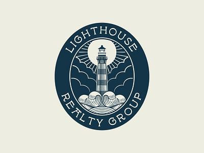 Lighthouse Realty Group pt. II branding design etching engraving logo badge vector illustration peter voth design