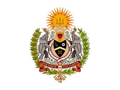 Love Forte Viva Fuerte design etching engraving logo badge vector illustration crest shield heraldry coat of arms peter voth design