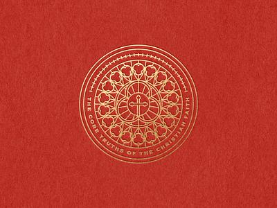 The core truths of the christian faith bible design bible logo design branding design etching engraving logo badge vector illustration peter voth design