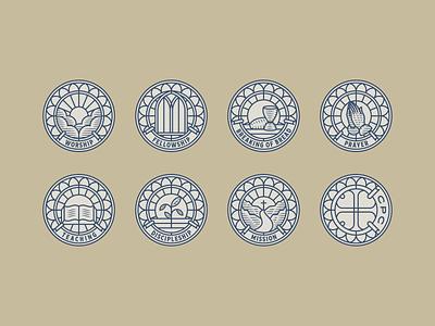 Cornerstone Presbyterian Church church logo design branding design engraving logo badge vector illustration peter voth design