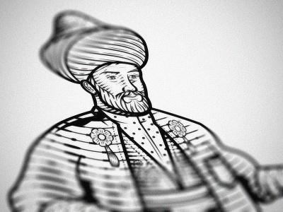 Dragoman dragoman line art woodcut illustrator vector etching engraving peter voth design illustration