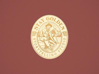 Stay Golden logo design woodcut line art branding design etching engraving logo badge vector illustration peter voth design