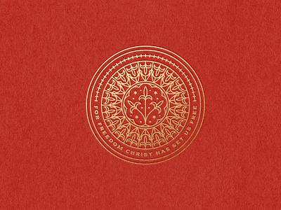 For freedom Christ has set us free logo design bible design bible branding design etching engraving illustration vector logo badge peter voth design