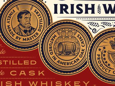 Darragh Whiskey Details spirits packaging spirits whiskey illustration badge branding design logo engraving peter voth design