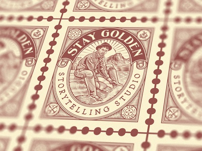 Stay Golden (Stamp) stamp postage stamp etching branding design illustration vector badge logo engraving peter voth design