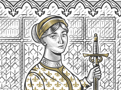 Woman Portrait sword gothic illustrator vector design etching lineart portrait woodcut engraving illustration peter voth design