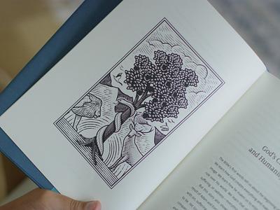 Unfolding Grace • New edition book design bible design bible woodcut etching illustration vector engraving peter voth design