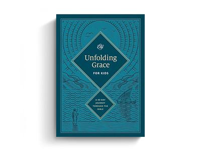 Unfolding Grace for Kids crossway books unfolding grace line art bible design bible branding design etching engraving vector illustration peter voth design