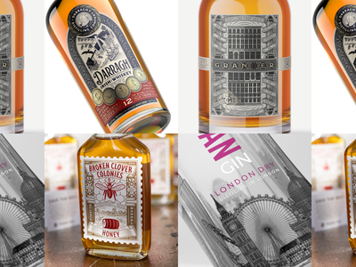 Spirits Packaging – Peter Voth Design whisky whiskey packaging designer packaging design badge branding design etching engraving vector illustration spirits packaging peter voth design
