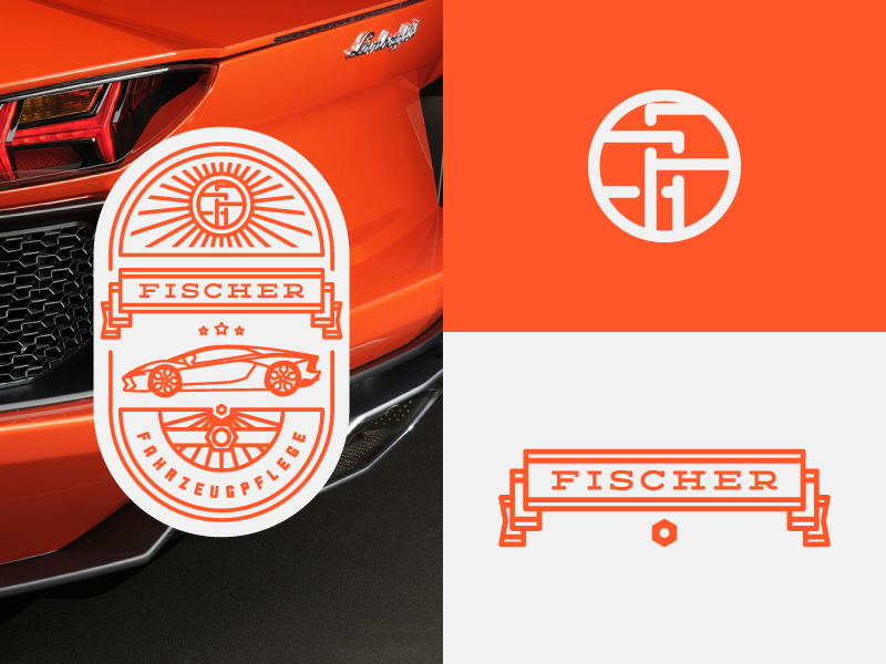 FF (Branding) vintage monogram ray car badge logo