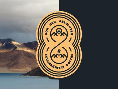 Gottes Souveränität (Badge) thunderbolt vector geometric circle sun flash mountain gotham type logo badge