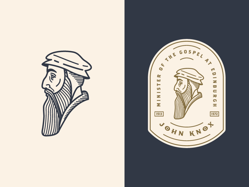 John Knox 3  wip patch illustration badge vector icon face