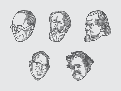 Biography Illustrations (Engraving Scratchboard Style)
