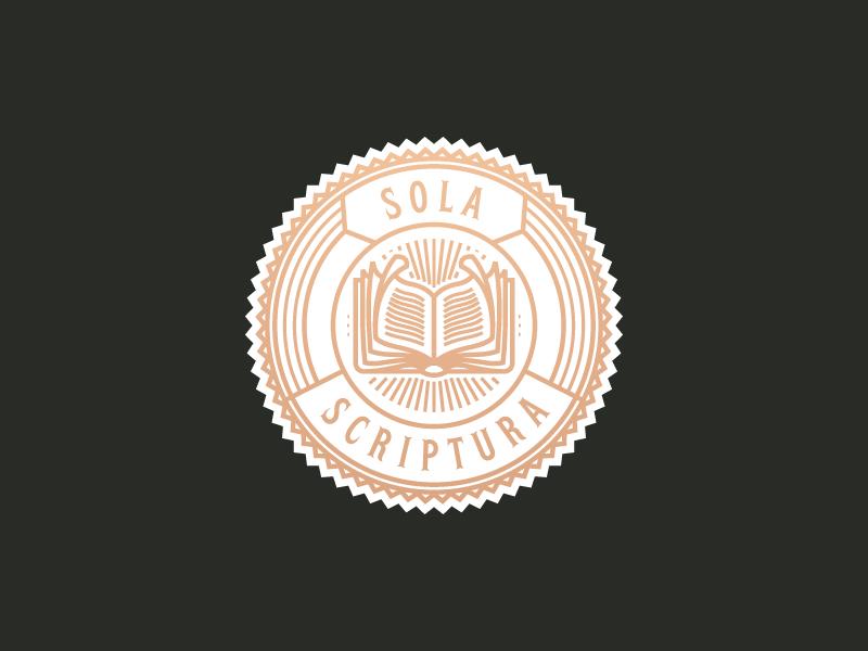 Sola Scriptura book vector illustration logo patch badge