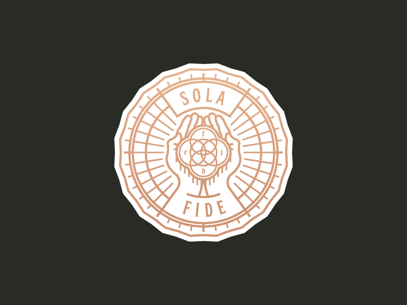Sola Fide rays hands tulip vector badge illustration artwork
