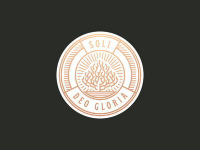 Soli Deo Gloria  badge bush fire illustration vector