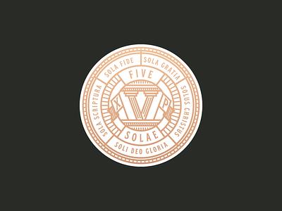 Five Solae apparel merch branding logo illustration pillar badge