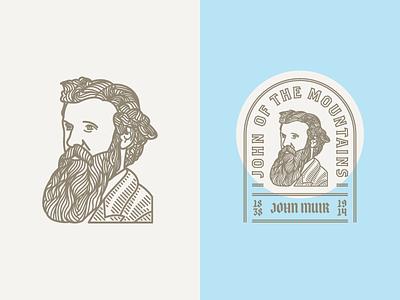 John Muir badge illustration