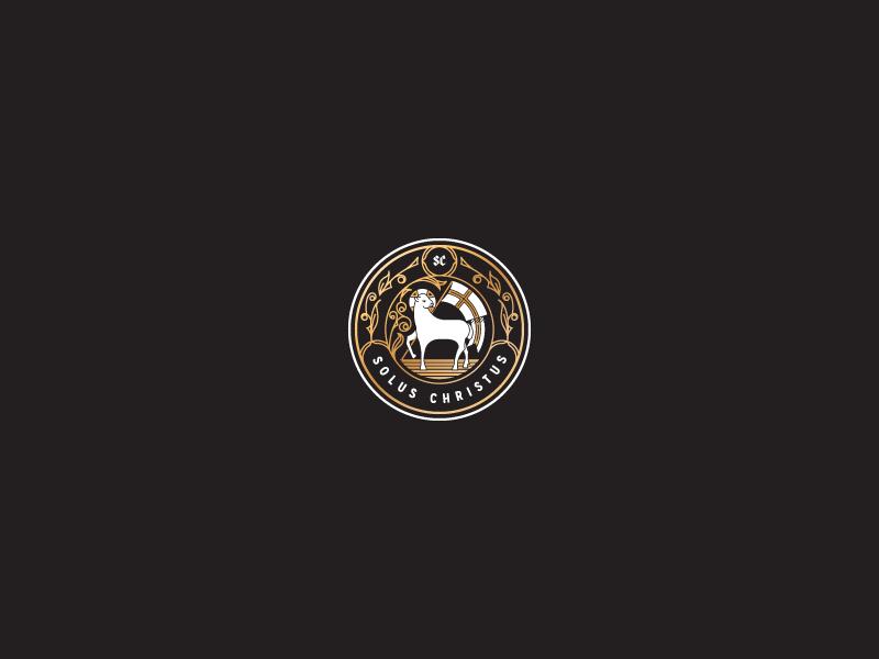 Solus Christus lamb illustration badge