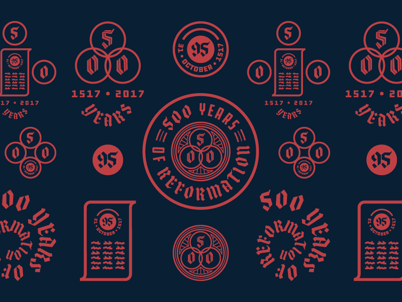 500 Years Of Reformation (Explorations) logo branding illustration badge