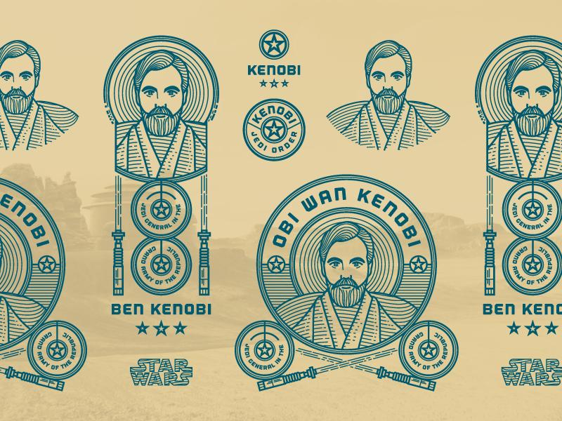 Kenobi (Responsive Branding) star wars illustration badge logo
