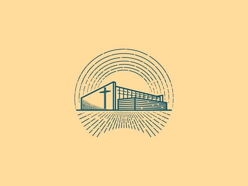 Modern Church Building (Engraving) vector engraving illustration