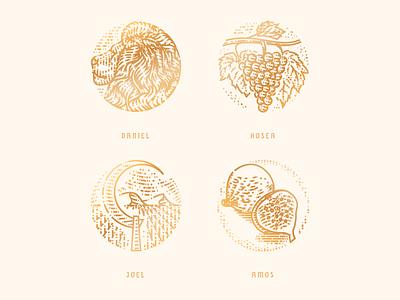 Daniel - Amos engraving icon badge illustration