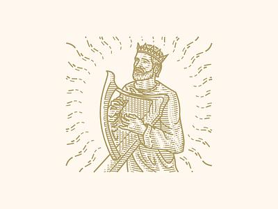 King David vector engraving scratchboard illustration